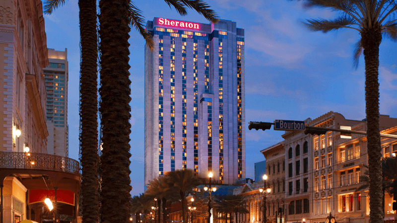 The Sheraton New Orleans Hotel Building from outside. Magic hour shot with clear sky